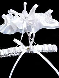 Garter Polyester Rhinestone / Ribbon White