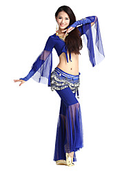 Dancewear Cystal Cotton/Tulle Belly Dance Top And Pant For Ladies More Colors