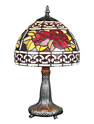 60W Tiffany Glass Table Light with Floral Pattern