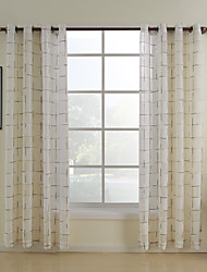 Two Panels Curtain Mediterranean , Plaid/Check Bedroom Poly / Cotton Blend Material Home Decoration For Window