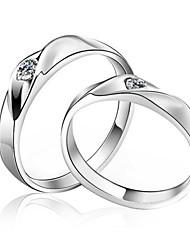 Élégant en argent sterling zircon cubique couple de Rings