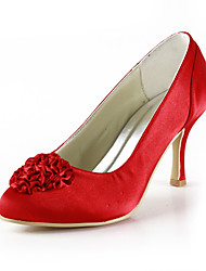 Beautiful Satin Low Heel Pumps With Satin Flower Wedding Party Women's Shoes