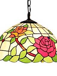 2 - Light Tiffany Pendent Lights with Rose Pattern