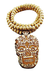 Fancy Skull Pattern Wooden Necklace