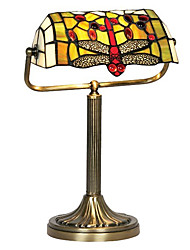 Tiffany Glass Table Lights with Red Dragonfly Pattern Shade
