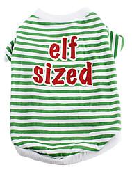 verde de algodão listra t-shirt para cães (xs-m)