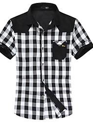 moda xadrez camisa mangas curtas