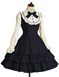 Long Sleeve Knee-length Ink Blue Terylene Classic Lolita Dress