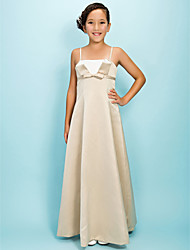 Floor-length Satin Junior Bridesmaid Dress A-line / Princess Spaghetti Straps Empire with Bow(s) / Sash / Ribbon