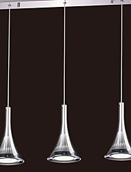 18W Comtemporary LED Pendent Lights with 3 Lights in Stainless Steel