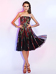 Homecoming Cocktail Party/Holiday Dress - Print A-line/Princess Strapless Knee-length Tulle