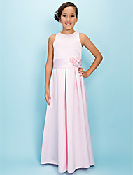 Lanting Bride® Floor-length Satin Junior Bridesmaid Dress A-line Jewel Natural with Draping / Flower(s) / Sash / Ribbon