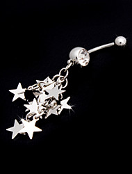 Charming Edelstahl Crystal Belly Ring With Stars