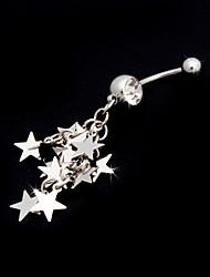 Encantador de aço inoxidável anel da barriga de cristal com estrelas
