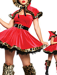 Cosplay Costumes / Party Costume Fairytale Festival/Holiday Halloween Costumes Red Patchwork Coat / Dress / Belt Halloween / Carnival