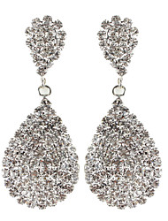 Water Drop Dangly Rhinestone Fully-Jewelled Earrings