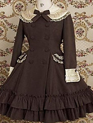 Long Sleeve Knee-length Brown Cotton Classic Lolita Dress
