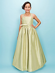 Floor-length Taffeta Junior Bridesmaid Dress Ball Gown / Princess Halter Natural with Draping / Sash / Ribbon / Crystal Brooch
