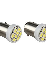 BA9s 8x1206 SMD branco lâmpada LED para painel do carro / lâmpadas tronco (2-pack, 12V DC)