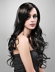 capless extra longa sintéticos de alta qualidade com aspecto natural peruca de cabelo preto encaracolado (9052 1b)