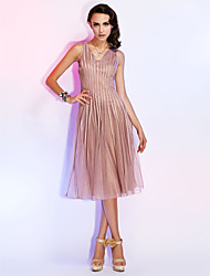 TS Couture® Cocktail Party / Holiday Dress - Champagne Plus Sizes / Petite A-line / Princess V-neck Knee-length Tulle