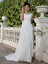 Sheath/Column Plus Sizes Wedding Dress - Ivory Court Train Scoop Chiffon