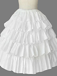 Knee-length White Cotton Princess Lolita Skirt