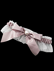Garter Satin / Polyester Bowknot / Imitation Pearl Brown