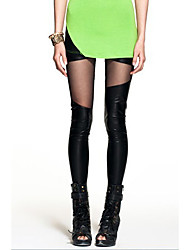 Women's Imitation Leather Mesh Spliced Leggings