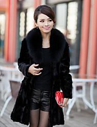 Elegante Long Sleeve Fox Pelzkragen Evening Mink Fur Coat