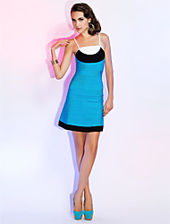 Cocktail Party / Holiday Dress - Multi-color Petite Sheath/Column Spaghetti Straps Short/Mini Rayon