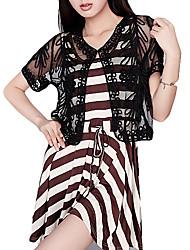 Short Sleeve Tulle With Lace Evening Jacket (More Colors) Bolero Shrug
