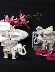 """«Éléphant chance"""" antique titulaire d'ivoire finition légère de thé"""