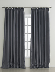(Two Panels) Grey Embossed Flame-retardant Room Darkening Curtain