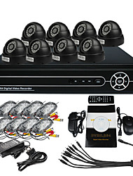 8 Indoor Día Noche CCTV Home Security Camera Video Surveillance Kit (H.264 Network, IR 10m)