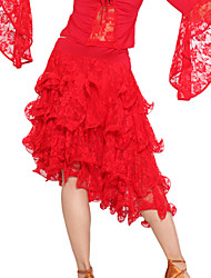 Ballroom Dancewear Viscose and Lace Latin Dance Skirt For Ladies More Colors