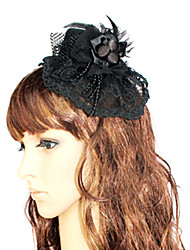 Black Polyester Lace Gothic Lolita Hat