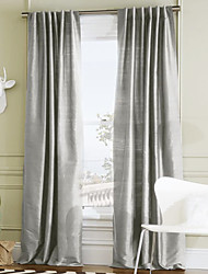 Two Panels  Stylish Solid Polyester Energy Saving Curtain