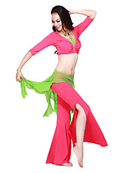 Dancewear Crystal Cotton/Spandex With Rhinestones Dance Top And Pant for Ladies More Colors