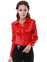 moda feminina da camisa blusa fina de manga comprida