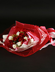Hand-tied Red/White Satin Wedding Bouquet With Tulle And Ribbon