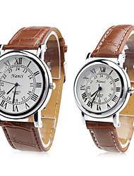 Pair of Unisex PU Analog Quartz Wrist Watch (Brown) Cool Watches Unique Watches
