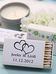 Wedding Décor Personalized Matchboxes - Black Double Hearts (Set of 12)