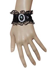 Black Lace Blue Diamond Gothic Lolita Pulseira