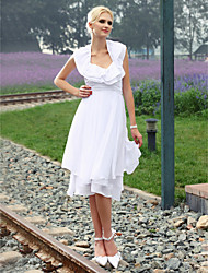 Lanting Sheath/ Column Halter Knee-length Chiffon Wedding Dress