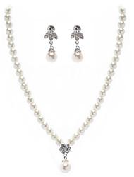 Elfenbein Perle zweiteilige elegante Damen Halskette und Ohrringe Schmuck-Set (38 cm)
