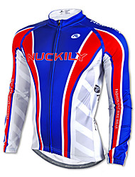NUCKILY-100% Polyester Long-Sleeve Cycling Jersey with Fleece Side (Blue)