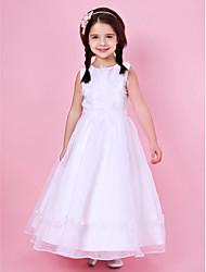 A-line/Princess Floor-length Flower Girl Dress - Organza/Satin Sleeveless