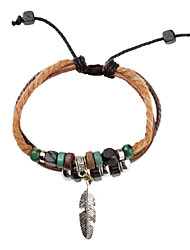 z&pulseira de couro X® multicamadas pulseira tecido do vintage com folha
