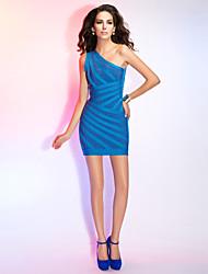 Cocktail Party Dress - Ocean Blue Sheath/Column One Shoulder Short/Mini Rayon